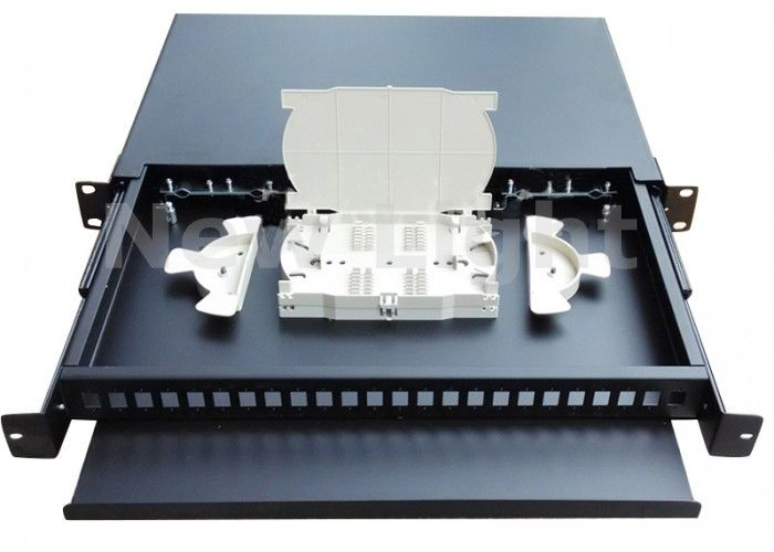 Indoor 19 Inch Fiber Optic Distribution Frame Pull Type 24 Port Patch Panel Rack Mount