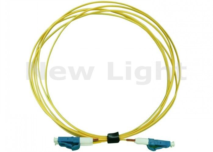 Yellow LC LC Fiber Patch Cord , PVC Material 3 Meter Simplex Fiber Optic Cable